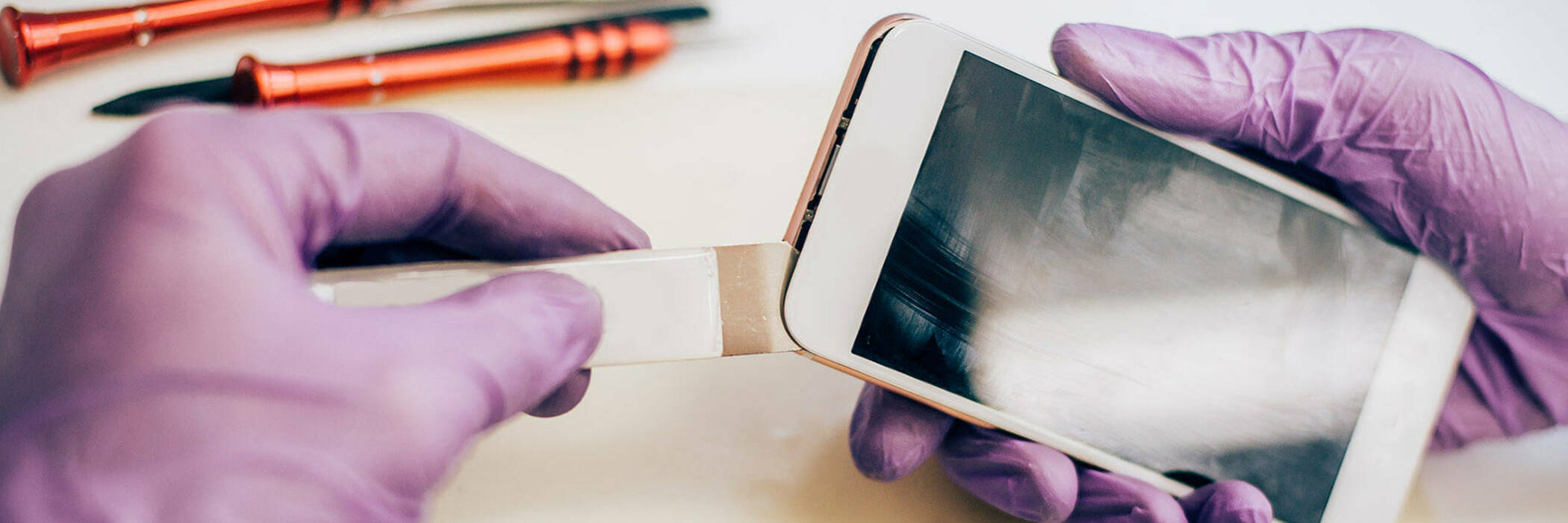 Smartphone being repaired