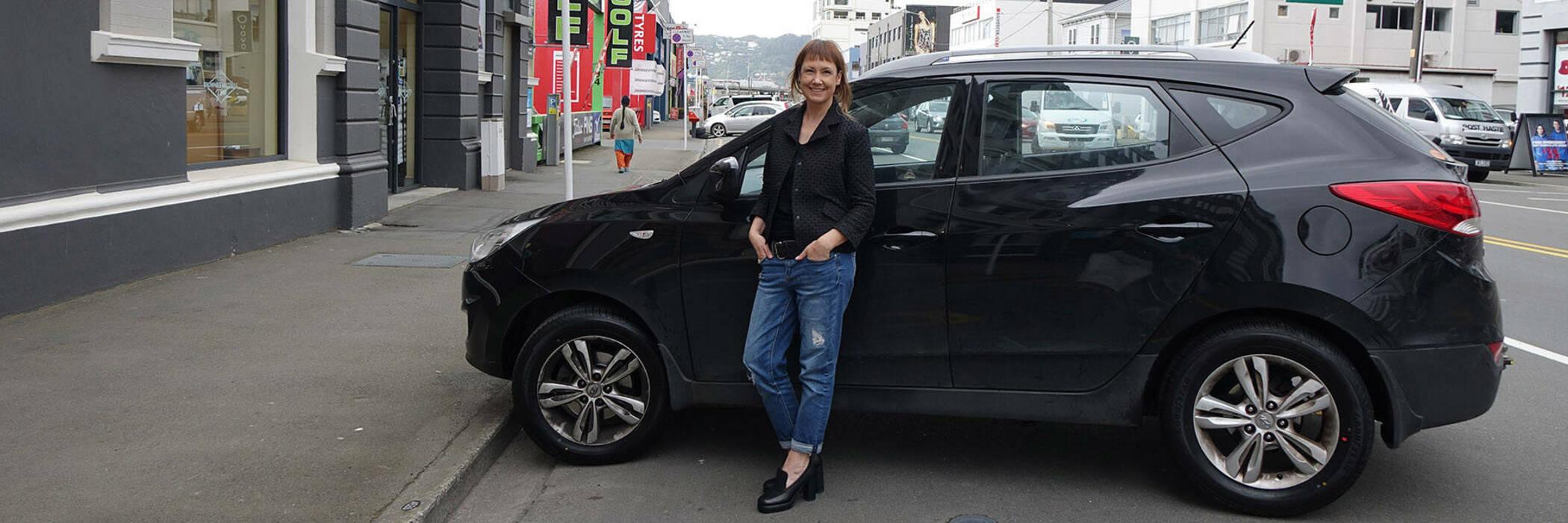Karen with her car
