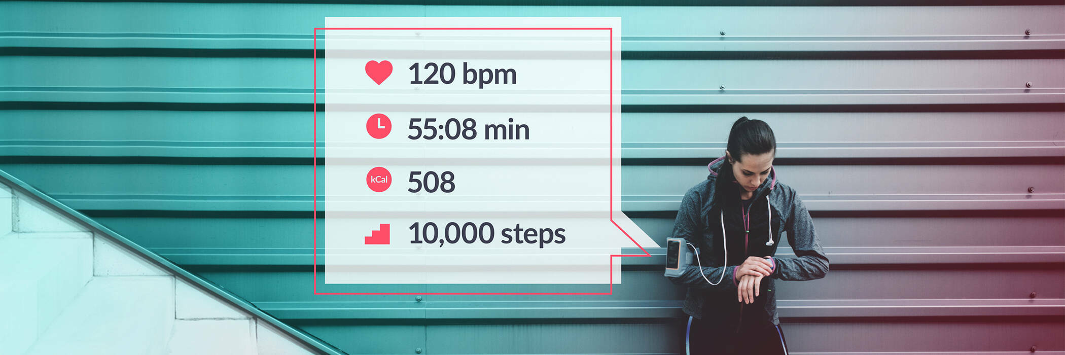Infografic of a sporswoman who's using her smart watch.