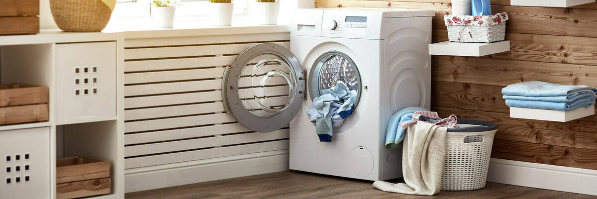 Washing machine filled with laundry