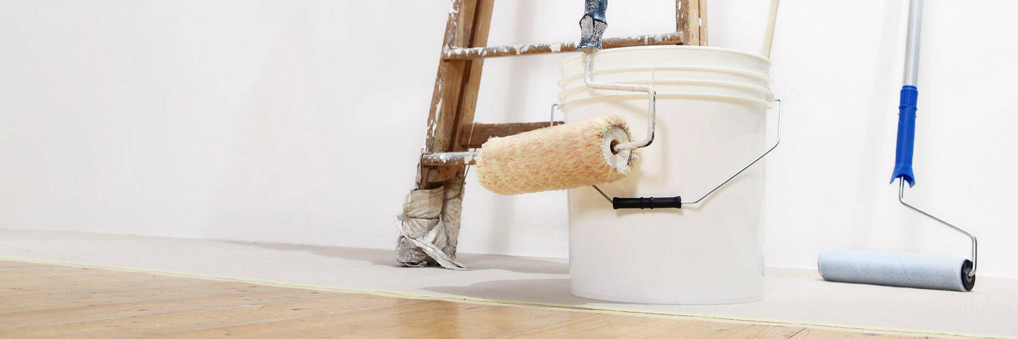 painting roller, bucket and ladder