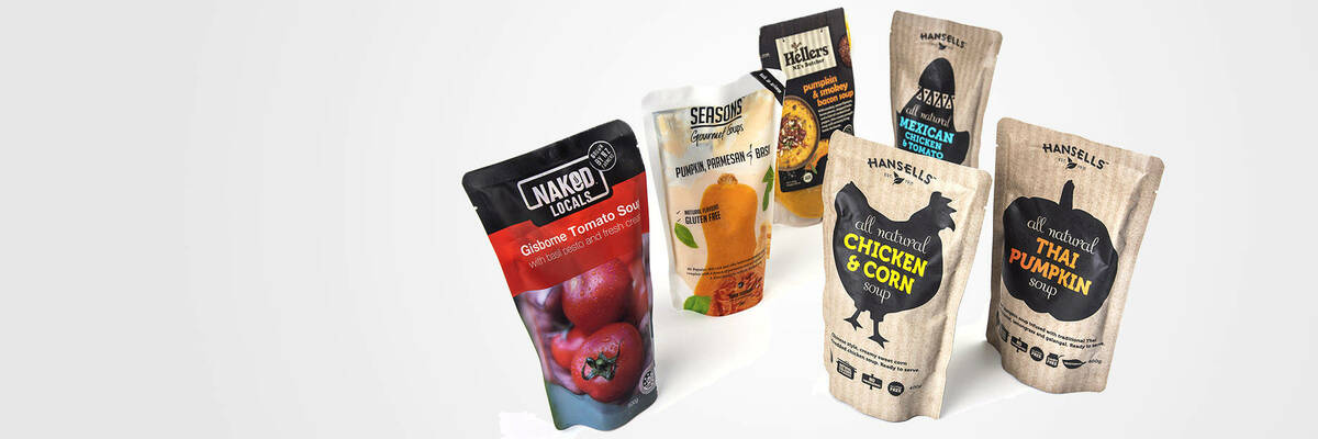 Packets of ready-to-eat soups
