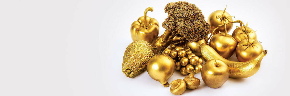 Fruit and vegetables painted gold