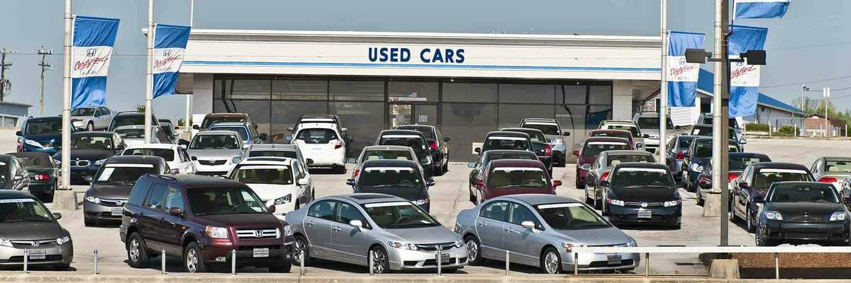 Used cars at dealership.