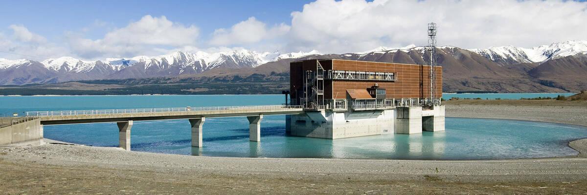 Lake Pukaki hydro power station, New Zealand.