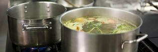 Stock cooking on stovetop