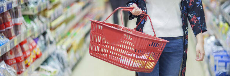 Woman shopping with basket