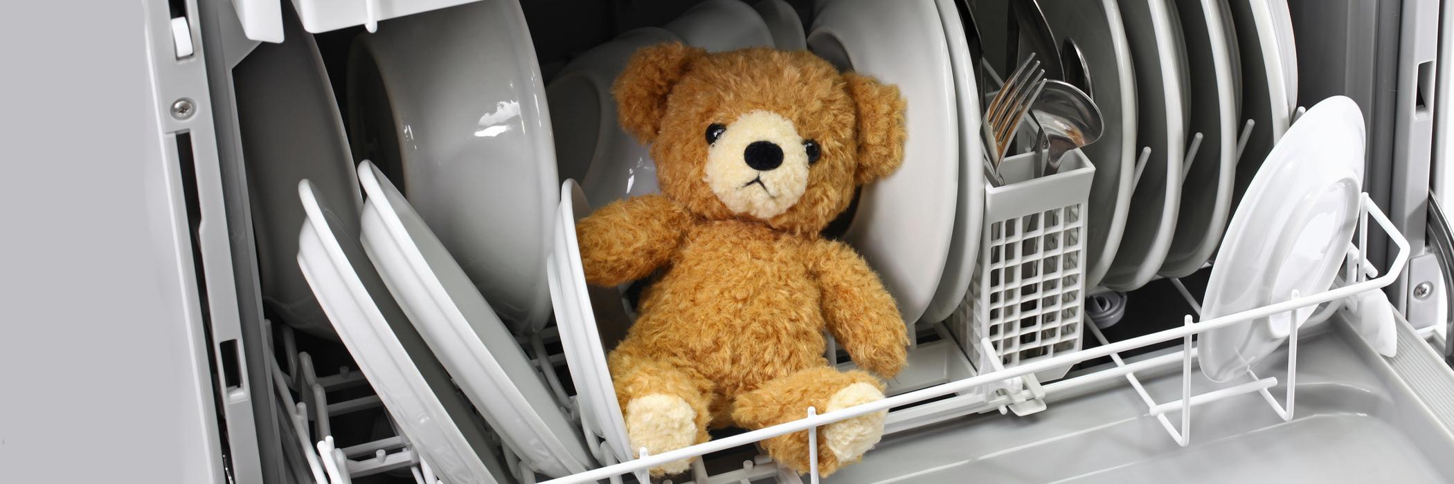 Teddy bear in the dishwasher.
