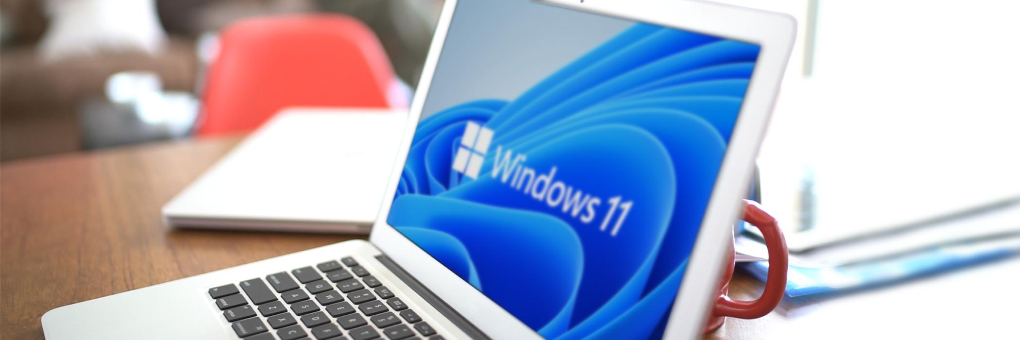 Laptop screen displaying Windows 11.
