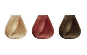 Hair dye samples in blonde, red and brunette shades.
