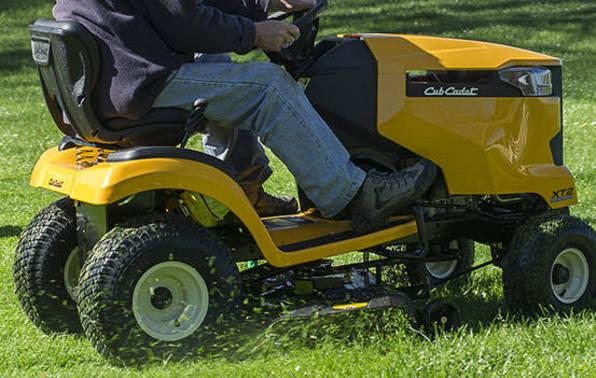 Man using ride-on mower