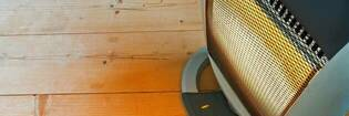 radiant heater on wooden floor