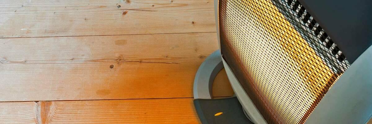 radiant heater on wooden floor
