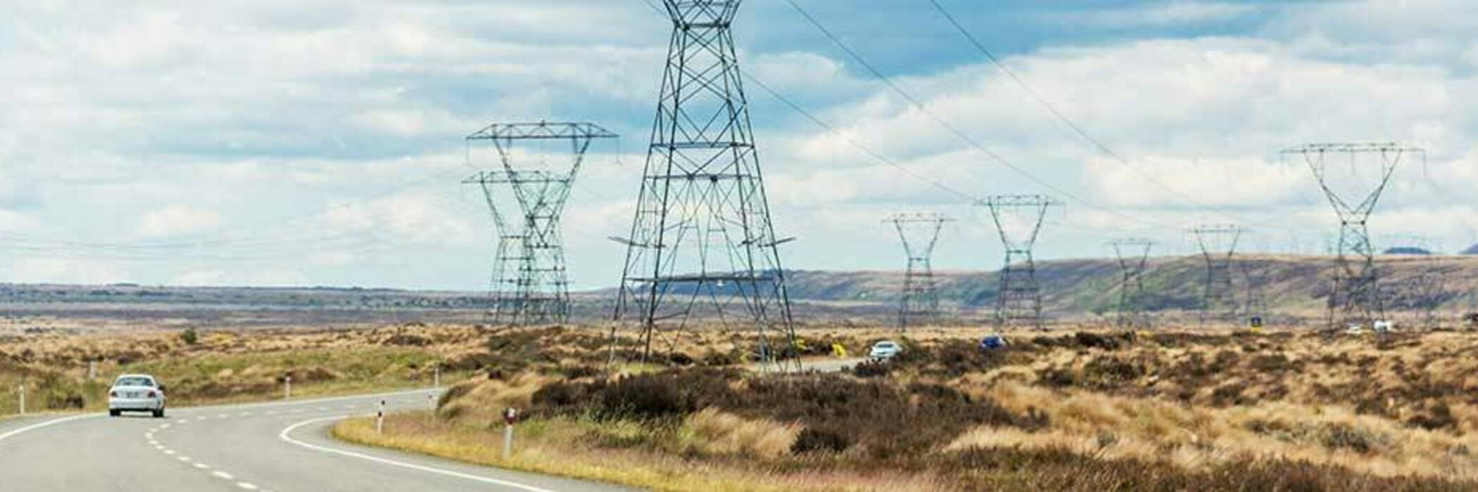 Electricity pylons in New Zealand.