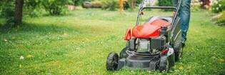 Man using a lawnmower in backyard.