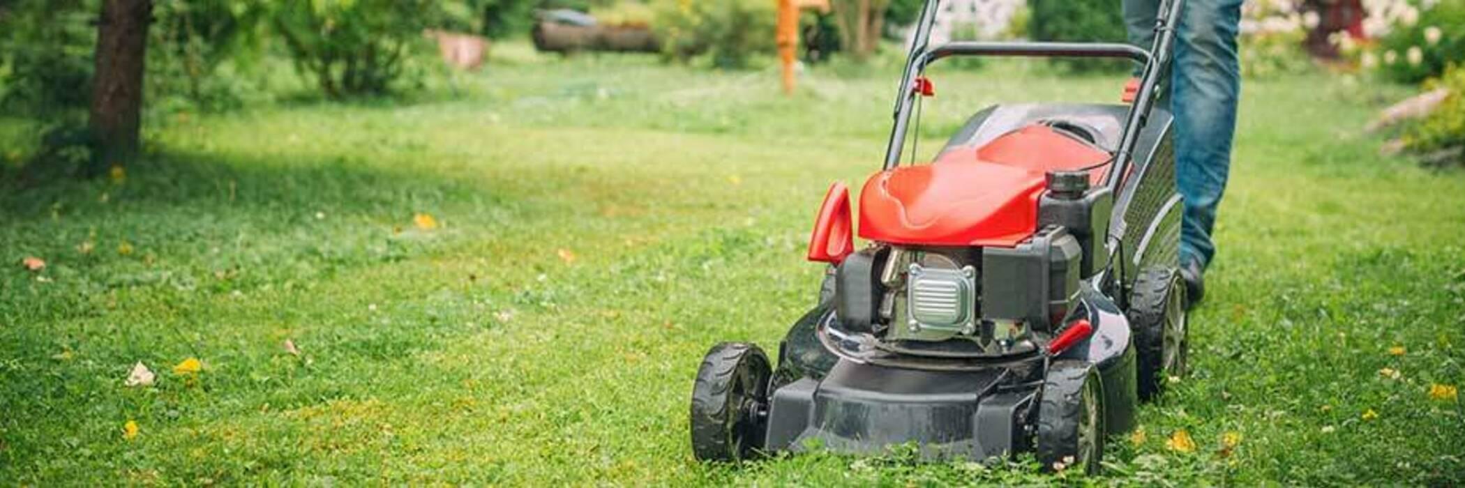 Man using a lawnmower in backyard.