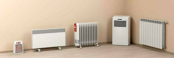 Different types of electric heaters and a heat pump.
