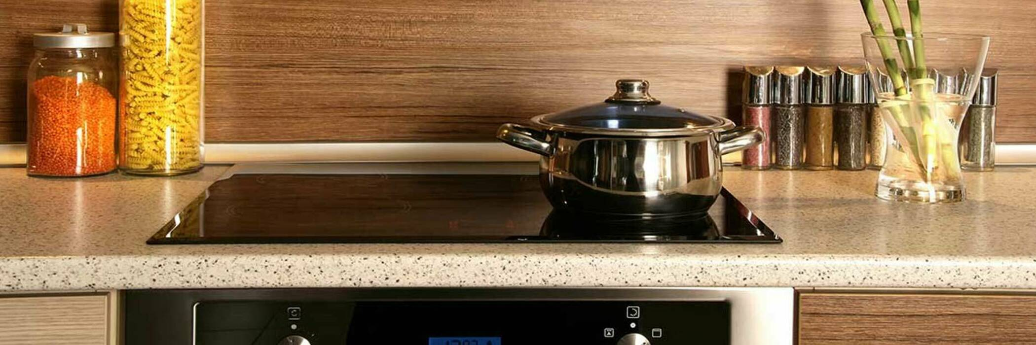 Modern oven and cooktop.