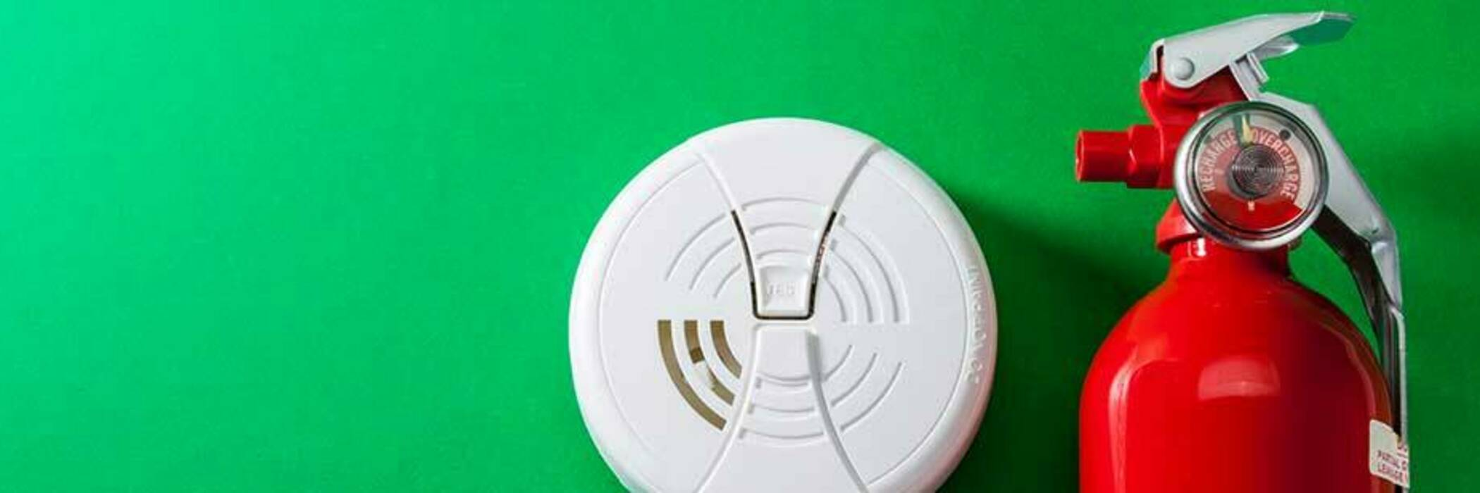 Smoke alarm and fire extinguisher.