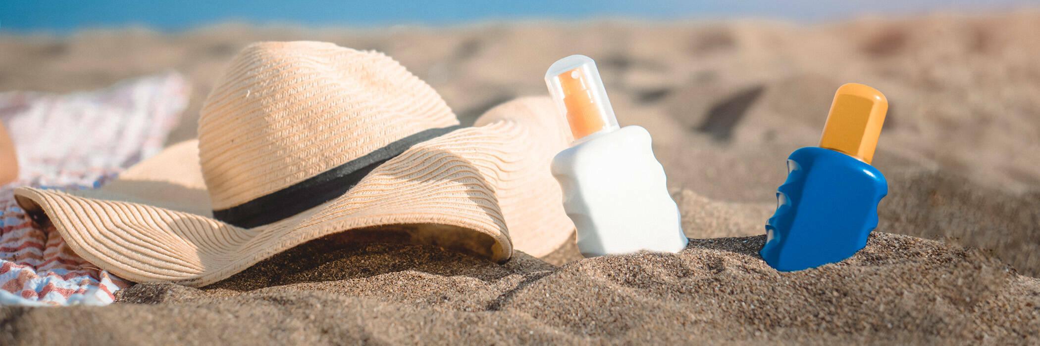 Sun protection set on the beach.