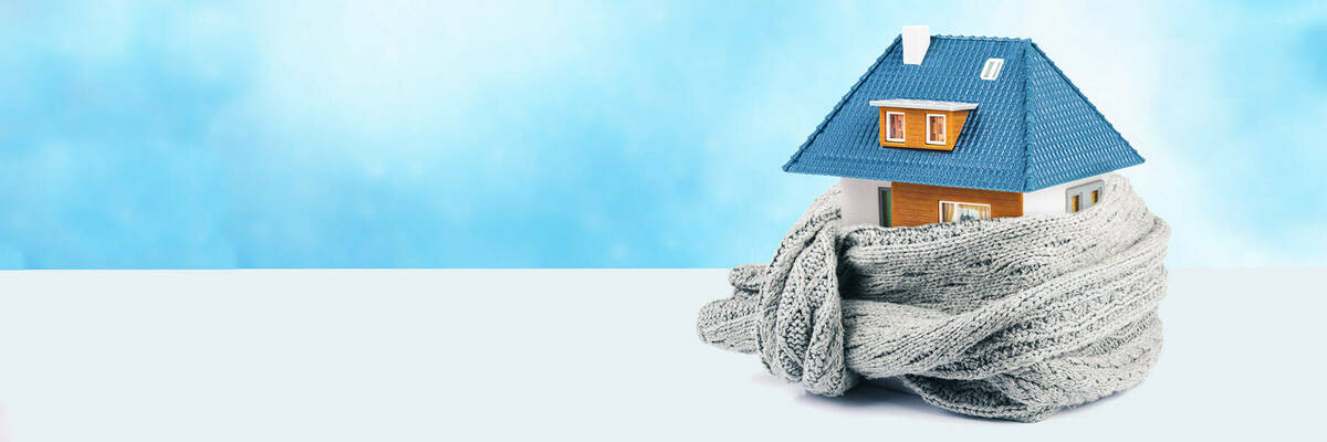 House wrapped in scarf.