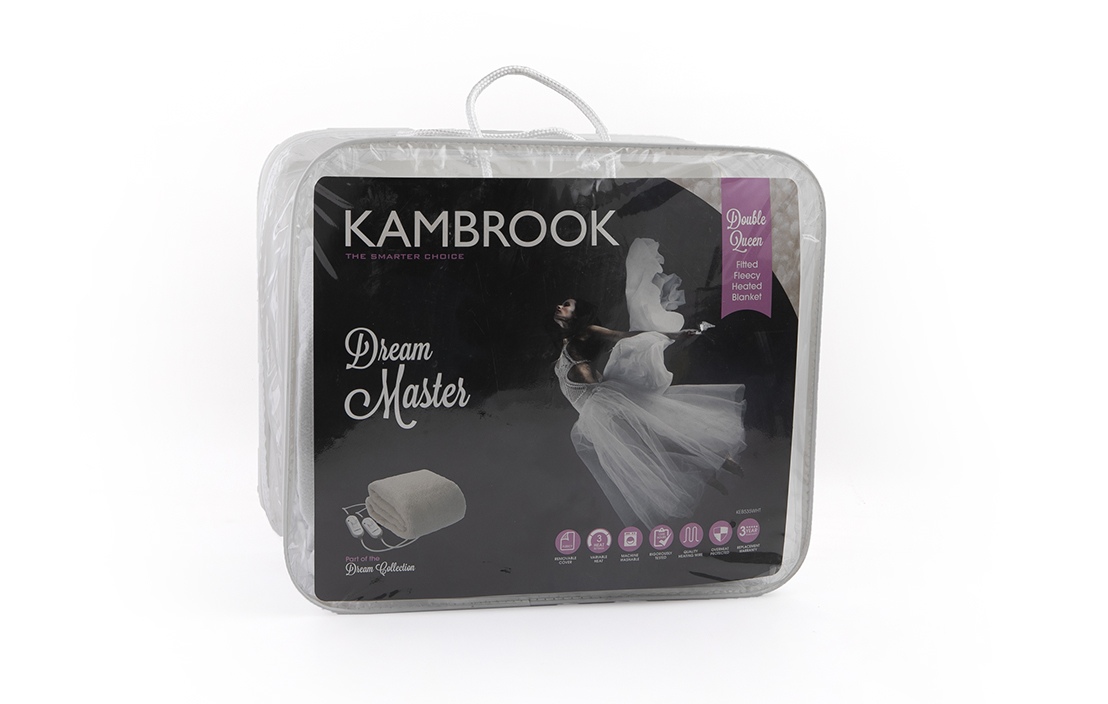 12 kambrook dream master double queen fitted fleecy heated blanket keb535wht