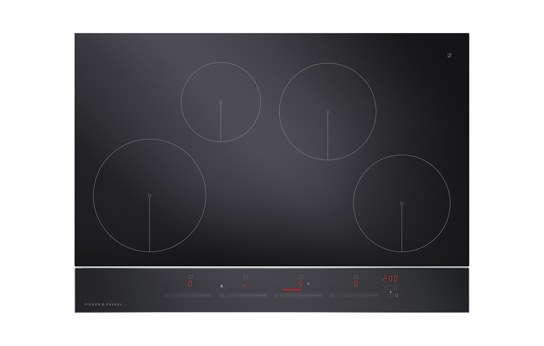 Fisher and paykel ci754dtb2 75cm 4 zone touch and slide cooktop
