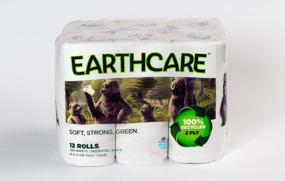 Earthcare 100% recycled unscented white rolls (12 rolls)