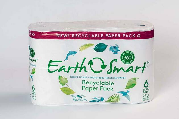 EarthSmart 360º Recyclable Paper Pack 100% Recycled Paper long rolls (6 rolls)