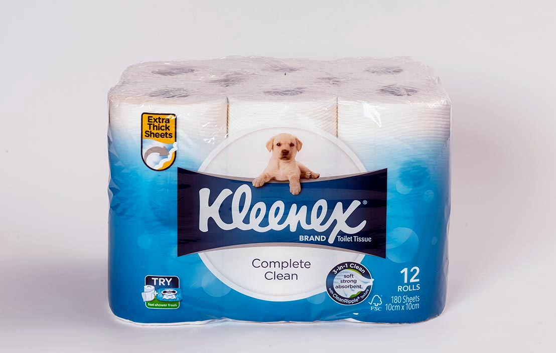 Kleenex Complete Clean (extra thick sheets) toilet tissue (12 rolls)