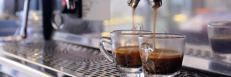 Espresso machine making two coffees.