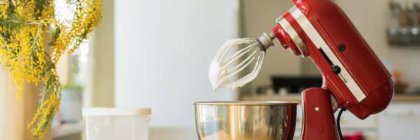 Red food mixer.