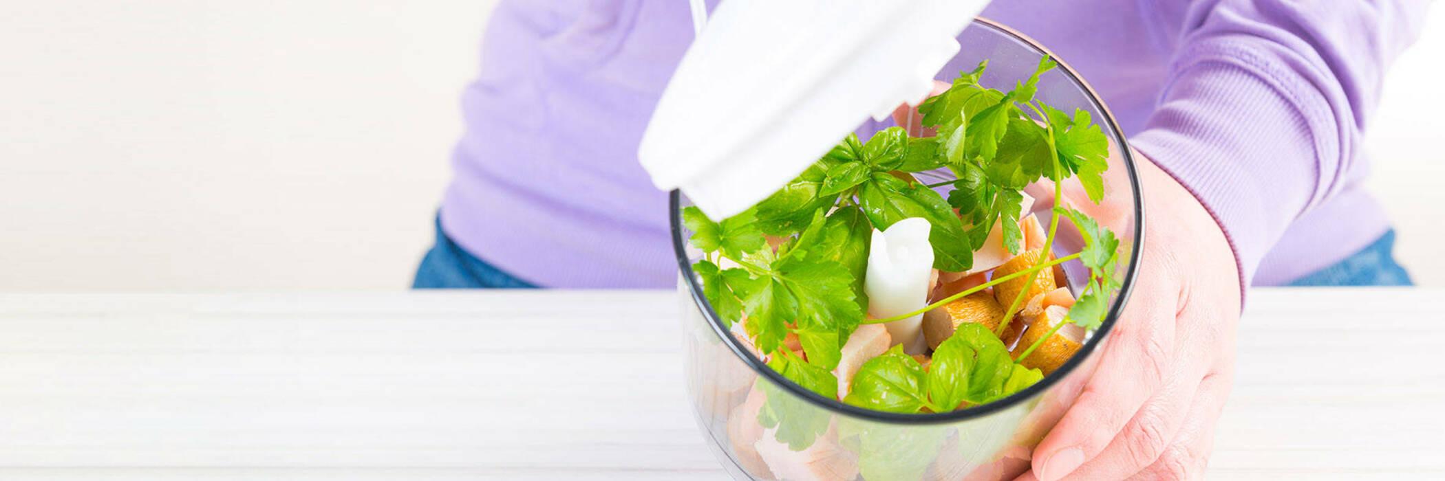 Fresh herbs in food processor