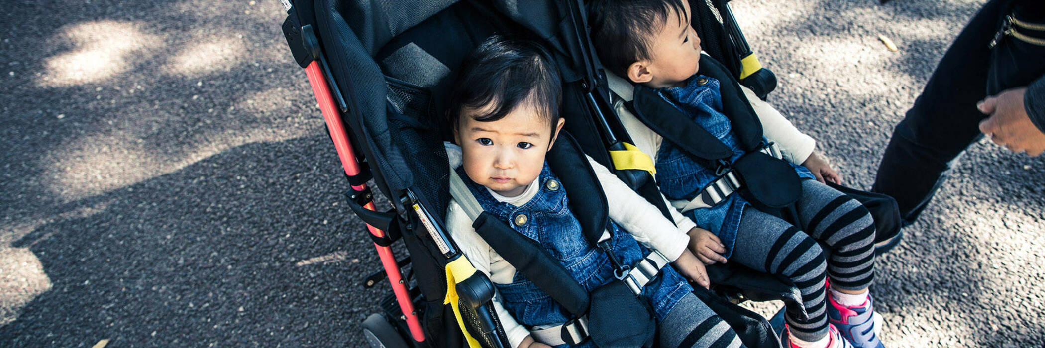 Two toddlers sitting in a side-by-side stroller.