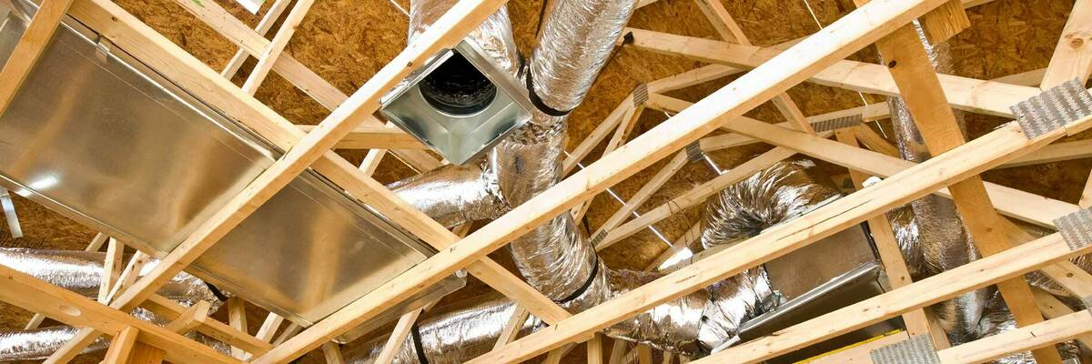 Photograph of ventilation systems in building site.